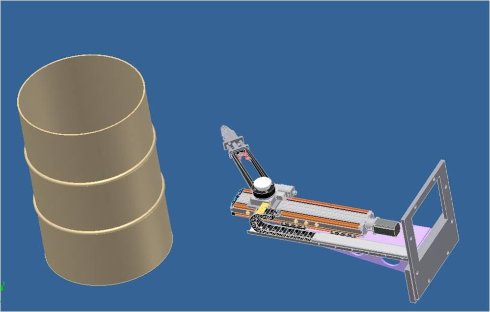 核废料桶表面剂量检测机械手三维图
